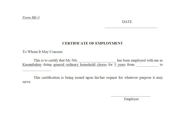 Certificate Of Employment Form Pictures to Pin – Sample of Certification of Employment