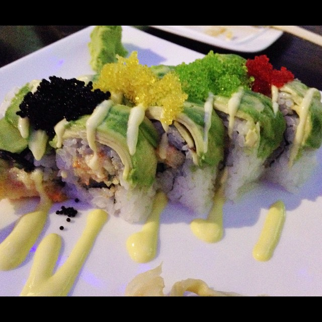 Lobster roll at Zen Bistro Millbrae - Lobster Roll $ 14.50 Lobster salad, avocado, cucumber, lettuce and masago with mango sauce #lobsterroll #lobster #millbrae #zenbistro #sushirolls