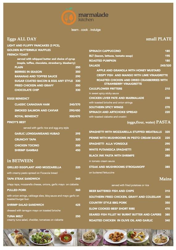 Marmalade kitchen menu
