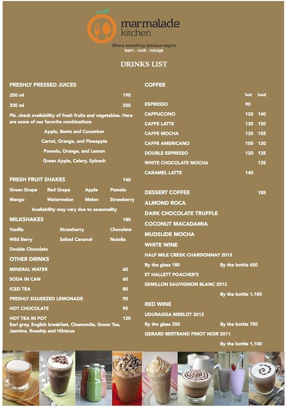 Marmalde kitchen menu 2