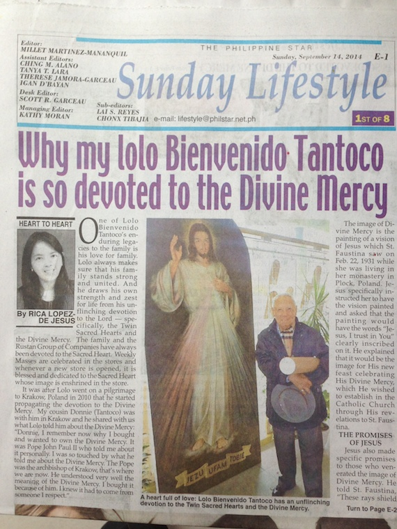 Philippine STar Sunday Lifestyle Divine Mercy Sept 14 2014
