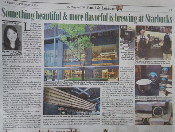 Philippine Star Clover brewing System Starbucks
