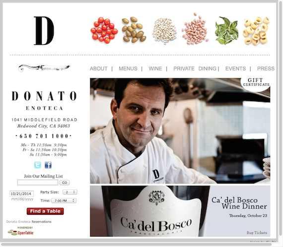 Donato Enoteca website