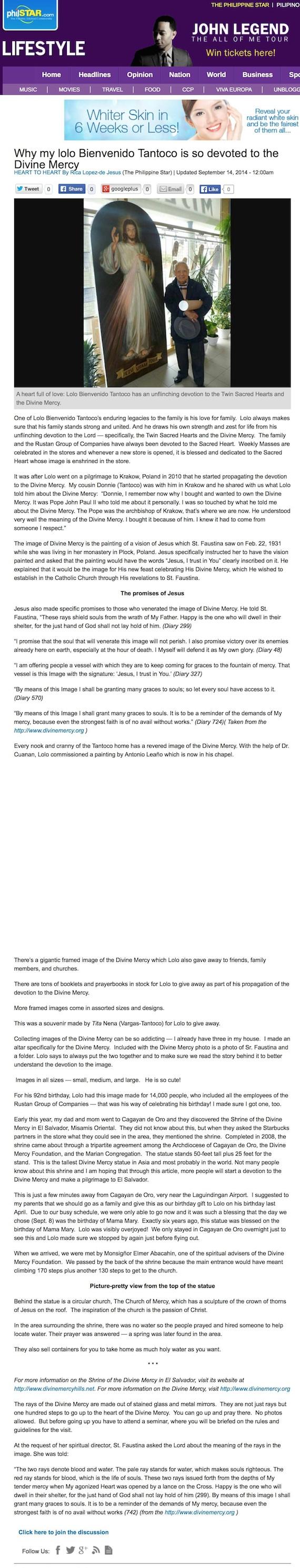 Lolo Benny Divine Mercy Philippine Star online