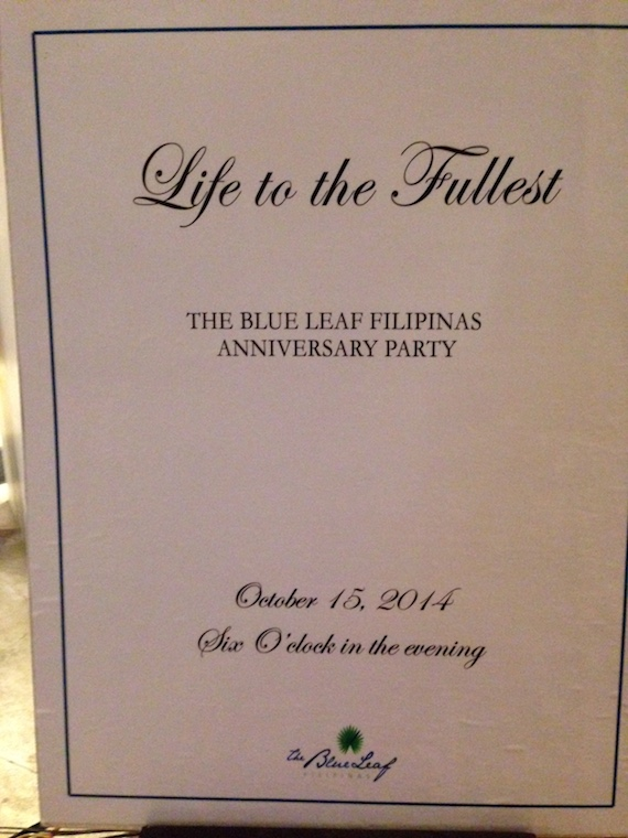 Blue leaf filipinas anniversary life to the fullest