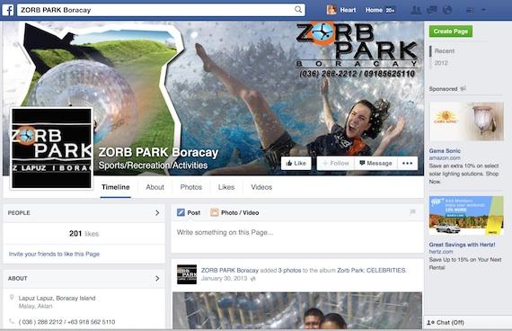Zorb Park boracay facebook page