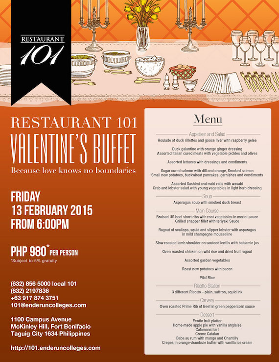 Valentines Buffet Enderun Feb 13