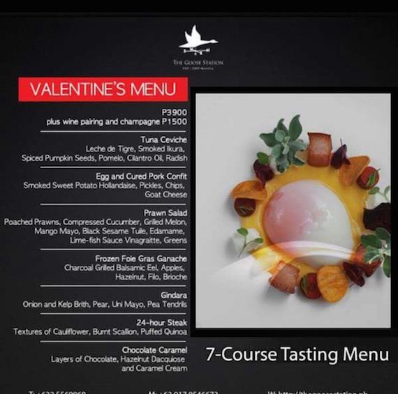goose station valentine 2015 menu