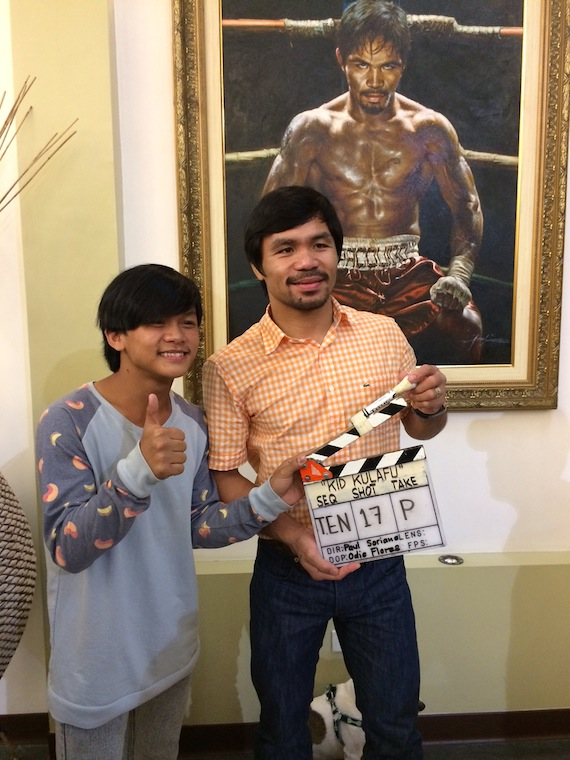 manny Pacquiao on set Kid Kulafu with buboy villar