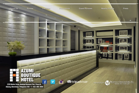 Azumi boutique hotel website