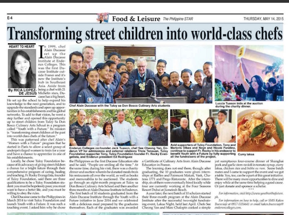 Transforming street children to world class chefs Philstar May 14 2015