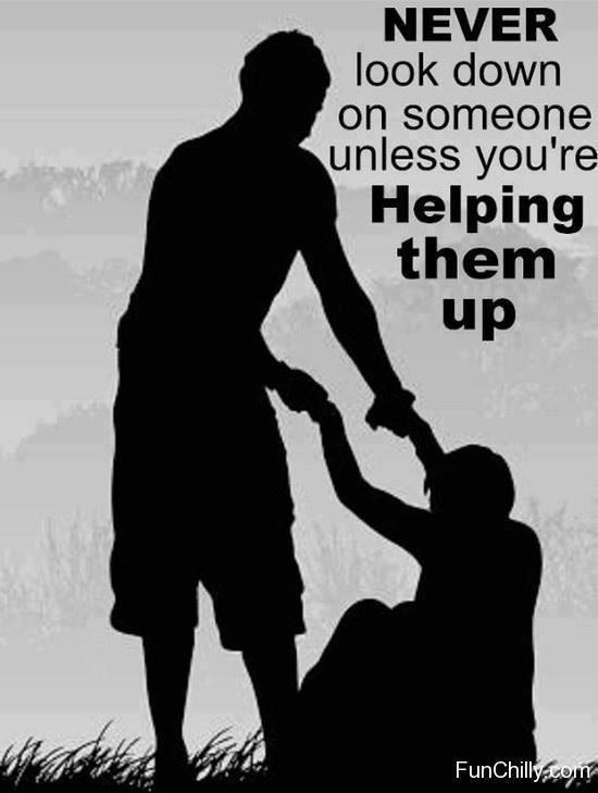 helping someone up saying