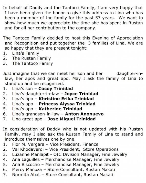 ZRT speech for lina trinidad Rustans silver Vault