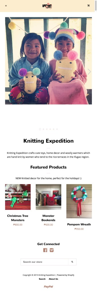 Knitting Expedition crafts cute toys, home decor and woolly warmers which are hand knit by women who tend to the rice terraces in the Ifugao region.