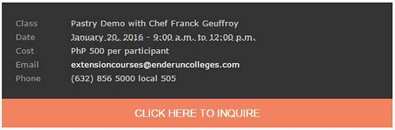 Pièce de Résistance Demo and Pastry Buffet with Chef Franck Geuffroy on 20 January