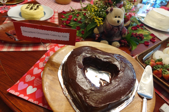 Valentines lunch yulo decadent chocolate cake heart