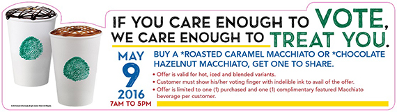 Care to Vote Starbucks Philippines offers One for You, One to Share promo (2)
