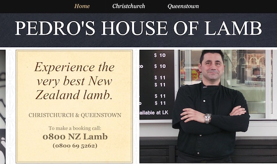 Pedros House of Lamb New Zealand website