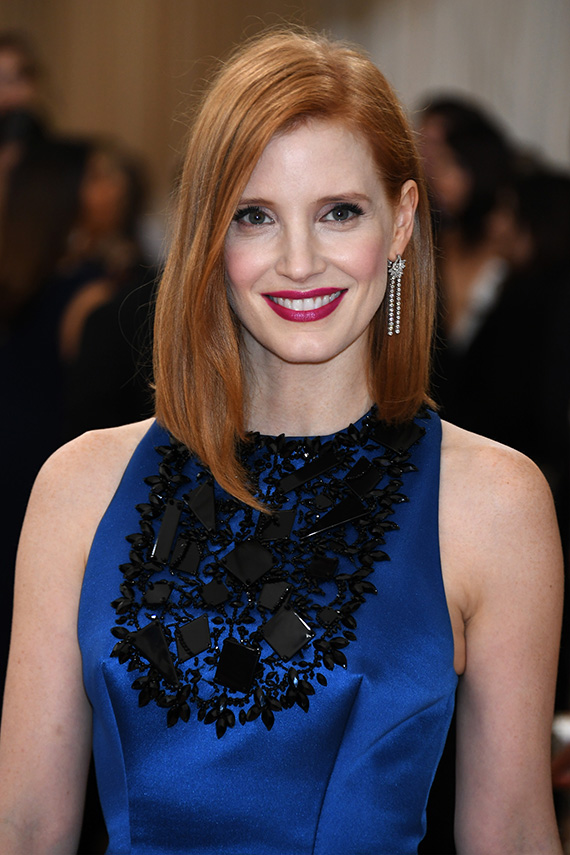 """NEW YORK, NY - MAY 02: Jessica Chastain attends the """"Manus x Machina: Fashion In An Age Of Technology"""" Costume Institute Gala at Metropolitan Museum of Art on May 2, 2016 in New York City. (Photo by Larry Busacca/Getty Images)"""