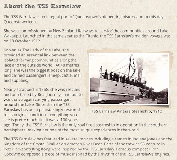TSS Earnslaw About