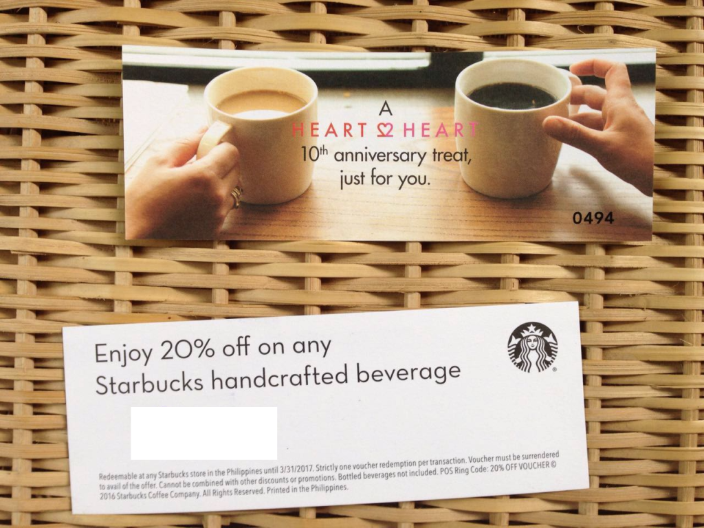 Starbucks discount coupon heart2Heart card