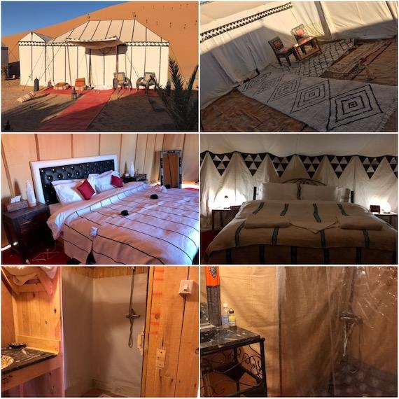 Comparison of tents erg chebbi desert camp