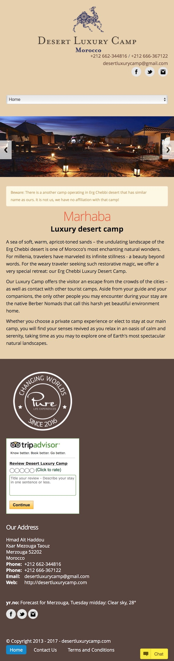 Desert Luxury Camp offers to see earth's most spectacular natural landscapes in Merzouga and Erg Chebbi from Morocco desert.