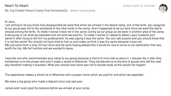 Erg Chebbi desert camp letter complaint