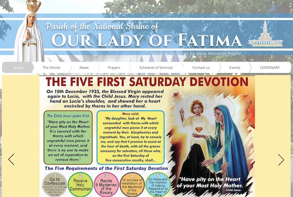 Parish of our lady of fatime Philippines website