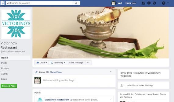 Victorino's restaurant facebook