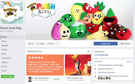 PLush and PLay FAcebook page