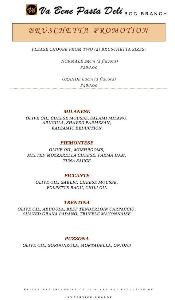 Bruschetta Promotion Va Bene Pasta Deli BGC Central Square