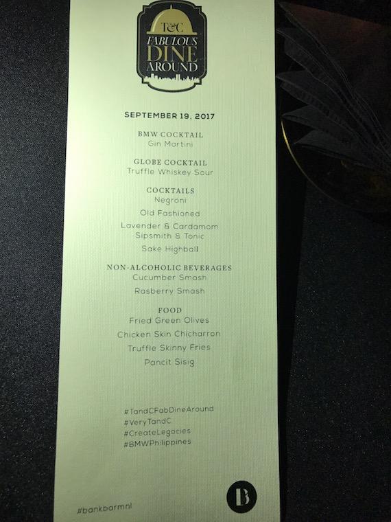 T & C Dine around hey handome menu bank bar