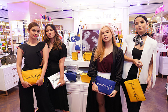 Sisters Megan & Lauren Young, Saab & Maxene Magalona pose with the Charming Charlie x Kendall Kylie collection during the event launch in Central Square (01)