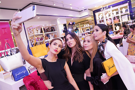 Sisters Megan & Lauren Young, Saab & Maxene Magalona take a selfie during the Charming Charlie x Kendall Kylie limited edition collection in Central Square