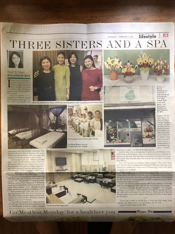 Toccare Spa philippine star leah dy